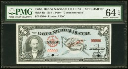 Cuba Banco Nacional de Cuba 1 Peso 1953 Pick 86s Commemorative Specimen PMG Choice Uncirculated 64 EPQ. Two POCs.  HID09801242017