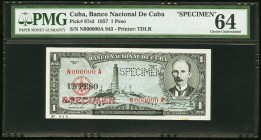 "Cuba Banco Nacional de Cuba 1 Peso 1957 Pick 87s2 Specimen PMG Choice Uncirculated 64. A perforated ""Specimen"" is present on this example.  HID0980124..."