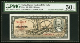 Cuba Banco Nacional de Cuba 10 Pesos 1958 Pick 88b Courtesy Autographs PMG About Uncirculated 50 EPQ. Courtesy autographs of Joaquin Martinez Saenz (B...