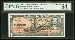 "Cuba Banco Nacional de Cuba 10 Pesos 1960 Pick 88s3 Specimen PMG Choice Uncirculated 64. A perforated ""Specimen"" is present on this example.  HID09801..."