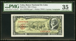 Cuba Banco Nacional de Cuba 5 Pesos 1958 Pick 91a Courtesy Autographs PMG Choice Very Fine 35. Courtesy autographs of Joaquin Martinez Saenz (Bank Pre...
