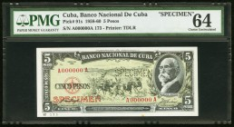 "Cuba Banco Nacional de Cuba 5 Pesos 1958 Pick 91s Specimen PMG Choice Uncirculated 64. A perforated ""Specimen"" is present on this example.  HID0980124..."