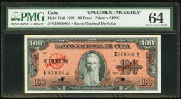 "Cuba Banco Nacional de Cuba 100 Pesos 1960 Pick 93s2 Specimen PMG Choice Uncirculated 64. Diagonal red Muestra with with prefix ""E"" serial number; two..."