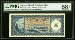 Curacao De Curacaosche Bank 5 Gulden 1954 Pick 38 PMG Choice About Unc 58 EPQ.   HID09801242017