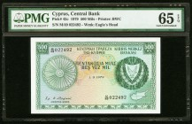 Cyprus Central Bank of Cyprus 500 Mils 1.9.1979 Pick 42c PMG Gem Uncirculated 65 EPQ.   HID09801242017