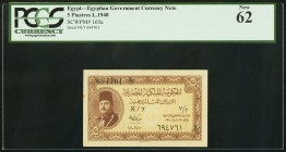 Egypt Egyptian Government 5 Piastres 1940 Pick 165a PCGS New 62.   HID09801242017