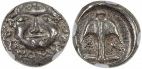"APOLLONIA PONTIKA: AR drachm, ND [450-400 BC], S-1655var, anchor with ""A "" to left and crayfish to right // gorgoneion, NGC graded EF.