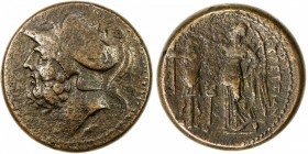 BRETTIAN LEAGUE: ca. 215-205 BC, AE sextans (14.79g), S-701var, head of Ares left, wearing crested Corinthian helmet // Nike standing left, holding pa...