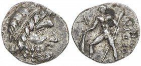 CRETE: Anonymous, ca. 98-94 BC, AR drachm (3.35g), Gortyna, diademed head of Zeus right // warrior standing left, holding shield and spear; A to left,...