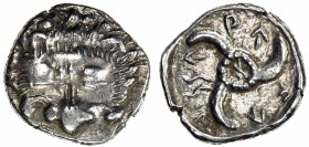 LYCIAN DYNASTS: Wekhssere II, after 400 BC, AR tetrobol (3.01g), S-5218, ruler at Antiphellos: lion's scalp facing // triskeles, with ruler's name aro...