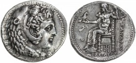 MACEDONIA: Alexander III, the Great, 336-323 BC, AR tetradrachm (16.58g), Babylon, S-6713 ff, lifetime issue: head of Herakles right, wearing lion ski...