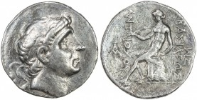 SELEUKID KINGDOM: Antiochos I Soter, 280-261 BC, AR tetradrachm (16.28g), ND, S-6866, king's head right, middle-age style // Apollo seated on omphalos...