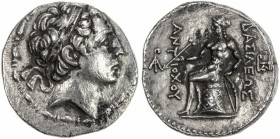 SELEUKID KINGDOM: Antiochos III, the Great, 223-187 BC, AR tetradrachm (16.73g), S-6933, diademed youthful head to the king // Apollo seated on omphal...