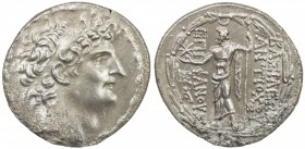 SELEUKID KINGDOM: Antiochos VIII Grypos, 121-96 BC, AR tetradrachm (16.06g), ND, S-7143, king's head right, diademed, fillet border // Zeus standing, ...