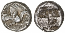 TEOS: mid-6th century BC, AR drachm (5.89g), S-3509, griffin seated right, left foreleg raised // incuse square or somewhat rough form, VF, R. 
