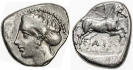 THESSALY: Anonymous, ca. 360-350 BC, AR drachm (6.04g), Larissa, S-2117, head of nymph Larissa left // horse galloping right, ΛAPI / ΣAIA, above and b...