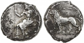 BABYLONIA: Anonymous, ca. 328-311 BC, AR tetradrachm (16.93g), S-6141, Baal seated left, holding scepter // lion walking left, arrow above, some spots...