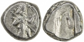 ACHAIMENIDIAN EMPIRE: Anonymous, 5th/4th century BC, AR siglos (5.57g), S-4682, bearded king kneeling, holding spear & bow // oblong punch, excellent ...