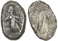 ACHAIMENIDIAN EMPIRE: Anonymous, ca. 420-375 BC, AR siglos (5.48g), BMC-plate XXV:15, Persian king kneeling, holding spear & bow // incuse punch, VF.