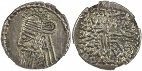 PARTHIAN KINGDOM: Vologases IV, 147-191, AR drachm, Ekbatana, Shore-434, standard type, debased Aramaic top line on reverse, some minor scuffs and con...