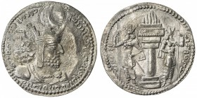 SASANIAN KINGDOM: Shapur I, 241-272, AR drachm (4.20g), G-23, bust of Ardashir right, wearing tall crown with earflap & korymbos / fire-altar & 2 crow...