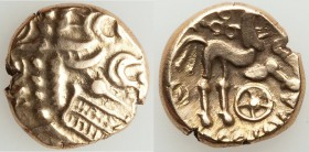 BRITAIN. Atrebates and Regni. Commius (ca. 50-25 BC). AV stater (17mm, 5.46 gm, 12h). XF. Devolved laureate head of Apollo right / COMMIOS, Celtic hor...