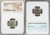 BRITAIN. Durotriges. Ca. 60-20 BC. AR stater (19mm, 7h). NGC Choice XF. Devolved head of Apollo right / Disjointed horse right, pellets above and belo...