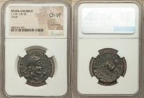 SPAIN. Castulo. Ca. 150-100 BC. AE as (28mm, 1h). NGC Choice VF, smoothing. Diademed, male head right; hand in front / KASTILO (Iberian), sphinx with ...