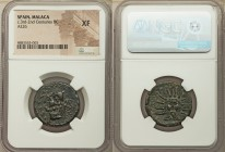 SPAIN. Malaca. Ca. 3rd-2nd centuries BC. AE as (25mm, 12h). NGC XF. (Punic legend), head of Vulcan left, wearing conical hat; tongs behind, all within...