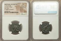 BRUTTIUM. The Brettii. Ca. 216-214 BC. AE unit or drachm (22mm, 7.55 gm, 2h). NGC XF 4/5 - 3/5. Laureate head of Zeus right, scepter behind / BPET-TIΩ...