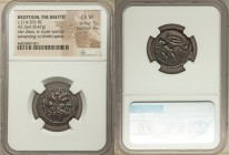 BRUTTIUM. The Brettii. Ca. 214-203 BC. AE unit or drachm (23mm, 8.47 gm, 4h). NGC Choice VF 5/5 - 4/5. Laureate head of Zeus right; thunderbolt behind...