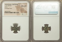 ZEUGITANA. Carthage. Time of Hannibal (ca. 221-218 BC). AE 1/5 unit (12mm, 11h). NGC Choice VF. Carthago Nova. Wreathed head of Tanit left / Crested T...