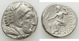 MACEDONIAN KINGDOM. Alexander III the Great (336-323 BC). AR tetradrachm (25mm, 16.36 gm, 2h). XF, porosity, countermark. Late lifetime or early posth...