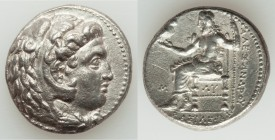 MACEDONIAN KINGDOM. Alexander III the Great (336-323 BC). AR tetradrachm (25mm, 16.82 gm, 9h). Choice XF, graffito. Early posthumous issue of 'Babylon...