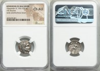 MACEDONIAN KINGDOM. Alexander III the Great (336-323 BC). AR drachm (17mm, 1h). NGC Choice AU. Late lifetime or early posthumous issue of Miletus, ca....