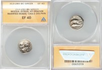 MOESIA. Istrus. Ca. 313-280 BC. AR drachm (17mm, 6h). ANACS XF 40. Two facing male heads; the left inverted / IΣTPIH, sea-eagle left, grasping dolphin...