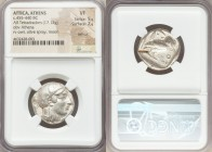 ATTICA. Athens. Ca. 455-440 BC. AR tetradrachm (23mm, 17.13 gm, 7h). NGC VF 5/5 - 2/5, test cut. Early transitional issue. Head of Athena right, weari...
