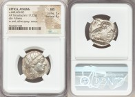 ATTICA. Athens. Ca. 440-404 BC. AR tetradrachm (24mm, 17.23 gm, 6h). NGC MS 5/5 - 4/5. Mid-mass coinage issue. Head of Athena right, wearing crested A...