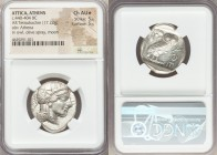 ATTICA. Athens. Ca. 440-404 BC. AR tetradrachm (27mm, 17.22 gm, 7h). NGC Choice AU S 5/5 - 5/5. Mid-mass coinage issue. Head of Athena right, wearing ...