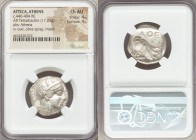 ATTICA. Athens. Ca. 440-404 BC. AR tetradrachm (24mm, 17.23 gm, 3h). NGC Choice AU 4/5 - 4/5. Mid-mass coinage issue. Head of Athena right, wearing cr...
