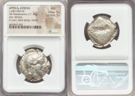 ATTICA. Athens. Ca. 440-404 BC. AR tetradrachm (27mm, 17.19 gm, 7h). NGC AU 5/5 - 5/5. Mid-mass coinage issue. Head of Athena right, wearing crested A...