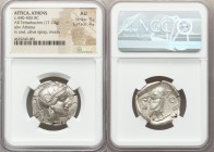 ATTICA. Athens. Ca. 440-404 BC. AR tetradrachm (26mm, 17.13 gm, 11h). NGC AU 5/5 - 4/5. Mid-mass coinage issue. Head of Athena right, wearing crested ...