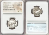 ATTICA. Athens. Ca. 440-404 BC. AR tetradrachm (22mm, 17.19 gm, 7h). NGC AU 3/5 - 4/5. Mid-mass coinage issue. Head of Athena right, wearing crested A...