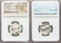 ATTICA. Athens. Ca. 440-404 BC. AR tetradrachm (25mm, 17.17 gm, 1h). NGC Choice XF 5/5 - 5/5. Mid-mass coinage issue. Head of Athena right, wearing cr...