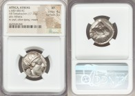 ATTICA. Athens. Ca. 440-404 BC. AR tetradrachm (23mm, 17.17 gm, 8h). NGC XF 4/5 - 5/5. Mid-mass coinage issue. Head of Athena right, wearing crested A...