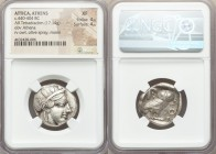 ATTICA. Athens. Ca. 440-404 BC. AR tetradrachm (24mm, 17.14 gm, 1h). NGC XF 4/5 - 4/5. Mid-mass coinage issue. Head of Athena right, wearing crested A...