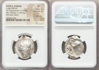 ATTICA. Athens. Ca. 440-404 BC. AR tetradrachm (28mm, 16.63 gm, 1h). NGC XF 5/5 - 2/5, Full Crest, test cuts, bent. Mid-mass coinage issue. Head of At...