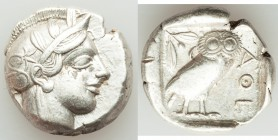 ATTICA. Athens. Ca. 440-404 BC. AR tetradrachm (25mm, 17.11 gm, 10h). XF. Mid-mass coinage issue. Head of Athena right, wearing crested Attic helmet o...
