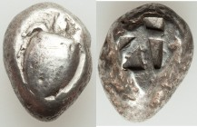 SARONIC ISLANDS. Aegina. Ca. 525-475 BC. AR stater (19mm, 12.25 gm). VF. Sea turtle with smooth shell and thin collar, seen from above / Mill-sail pat...