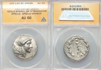 AEOLIS. Myrina. Ca. 155-145 BC. AR tetradrachm (29mm, 12h). ANACS AU 50. Laureate head of Apollo right / MYPINAIΩN, Apollo Grynios standing right, fil...